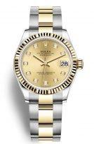 Женские часы Rolex Datejust 278 253 gold в биколорном корпусе (сталь с желтым золотом), золотой циферблат с бриллиантовыми индексами, на биколорном браслете Oyster.