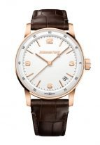 Мужские классические часы Audemars Piguet CODE1159 15210OR_OO_A099CR_01 в розовом золоте, белый лакированный циферблат, коричневый ремешок кроко.