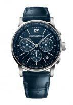 Мужские классические часы Audemars Piguet CODE1159 26393BC_OO_A321CR_01 в белом золоте хронограф, синий циферблат, синяя кожа кроко.