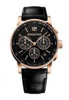 Мужские классические часы Audemars Piguet CODE1159 26393OR_OO_A002CR_01 хронограф в розовом золоте, черный циферблат, черная кожа кроко.