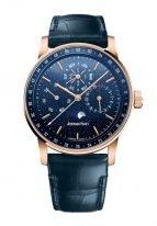 Мужские классические часы Audemars Piguet CODE1159 26394OR_OO_D321CR_01 в розовом золоте вечный календарь и фазы Луны, синий циферблат, синяя кожа кроко.