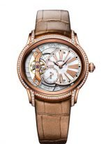 Женские классические часы Audemars Piguet Millenary 77247OR_ZZ_A812CR_01 в розовом золоте с бриллиантами, перламутровый смещенный циферблат, коричневый ремешок кроко.