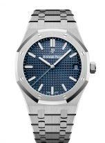 Мужские спортивные часы Audemars Piguet Royal Oak 15500ST_OO_1220ST_01 в стальном корпусе с синим циферблатом на стальном браслете.