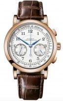 Мужские классические часы Lange Sohne 1815 414 032 в розовом золоте, хронограф, светлый циферблат, коричневая кожа кроко.