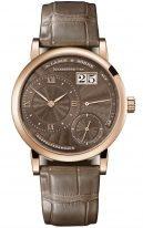 Женские классические часы Lange Sohne Lange1 181 037 в корпусе из розового золота, большая дата, запас хода, коричневый гильошированный циферблат, кожа кроко.