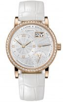 Женские классические часы Lange Sohne Lange1 182 830 в корпусе из розового золота с бриллиантовым рантом, большая дата, запас хода и фазы Луны, светлый гильошированный циферблат, кожа кроко.