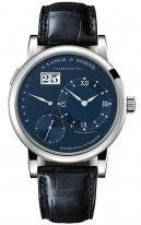 Мужские классические часы Lange Sohne Lange1 320 028 в корпусе из белого золота, большая дата, ретроградный день недели, синий циферблат, синяя кожа кроко.