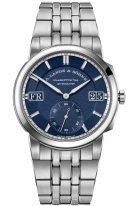 Мужские спортивные часы Lange Sohne Odysseus 363 179 в стальном корпусе, большая дата, день недели, синий циферблат, стальной браслет.