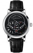 """Мужские классические часы Lange Sohne Richard Lange 252 029 в корпусе из белого золота ,часы""""регулятор"""", запас хода, черный циферблат, черная кожа кроко."""
