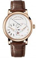 """Мужские классические часы Lange Sohne Richard Lange 252 032 в корпусе из розового золота ,часы""""регулятор"""", запас хода, светлый циферблат, коричневая кожа кроко."""