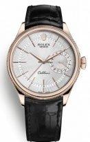 Мужские классические часы Rolex Cellini 50 515 в розовом золоте с датой, серебристый циферблат, на кожаном ремешке.