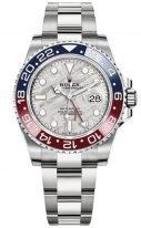 Мужские/женские спортивные часы Rolex GMT Master II 126 719 BLRO meteorite в белом золоте, с функцией второго часового пояса, синий циферблат, на браслете Oyster.