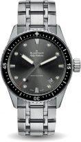 Мужские спортивные часы Blancpain Fifty Fathoms 5000 1110 70B в стальном корпусе, серый циферблат, стальной браслет.