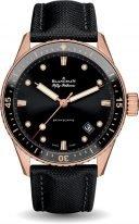 Мужские спортивные часы Blancpain Fifty Fathoms 5000 36S30 B52A в розовом золоте, темный циферблат, парусиновая кожа.