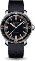 Мужские спортивные часы Blancpain Fifty Fathoms 5008B 1130 B52A в стальном корпусе, темный циферблат, черный каучуковый ремешок.
