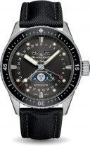 Мужские спортивные часы Blancpain Fifty Fathoms 5054 1110 B52A в стальном корпусе с годовым календарем и фазами Луны, метеоритовый циферблат, парусиновая кожа.
