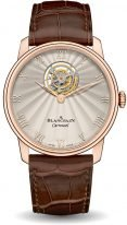 Мужские классические часы Blancpain Villeret 66228 3642 55B турбийон в розовом золоте, опаловый циферблат, кожа кроко.