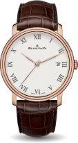 Мужские классические часы Blancpain Villeret 6630 3631 55B в розовом золоте с циферблатом из эмали, дата и секунды, коричневая кожа кроко.