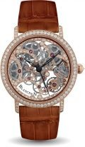 Женские классические часы Blancpain Villeret 6633 2900 55B в розовом золоте с бриллиантовым рантом, скелетированный циферблат, ремешок кроко.