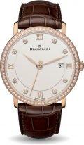Мужские классические часы Blancpain Villeret 6651 2987 55B в розовом золоте с бриллиантовым рантом, с датой, светлый циферблат с бриллиантовыми индексами, коричневая кожа кроко.