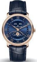 Мужские классические часы Blancpain Villeret 6654 3640 55B в розовом золоте с годовым календарем и фазами Луны, синий циферблат, синяя кожа кроко.
