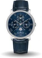 Мужские классические часы Blancpain Villeret 6656 3440 55B вечный календарь с фазой Луны в платиновом корпусе, синий циферблат, синяя кожа кроко.