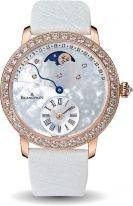 Женские классические часы Blancpain Women 3653 2954 58B в розовом золоте с бриллиантовым рантом, ретроградная дата и фазы Луны, перламутровый циферблат, кожа страуса.
