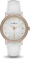 Женские классические часы Blancpain Women 6604 2944 55A в розовом золоте с бриллиантовым рантом, светлый перламутровый циферблат, кожа кроко.