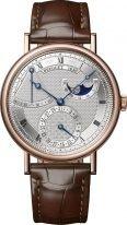 Мужские классические часы Breguet Classique 7137BR_15_9VU в розовом золоте с запасом хода и фазами Луны, серебристый циферблат, коричневая кожа кроко.