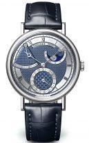 Мужские классические часы Breguet Classique 7137BB_Y5_9VU в белом золоте с запасом хода и фазами Луны, синий гильшированный циферблат, синяя кожа кроко.