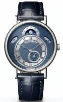 Мужские классические часы Breguet Classique 7337BB_Y5_9VU в белом золоте, с календарем и фазами Луны, синий циферблат, синяя кожа кроко.