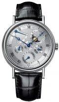 Мужские классические часы Breguet Classique 5327BB_1E_9V6 вечный календарь в белом золоте, гильошированный циферблат, фазы Луны, черный ремешок кроко.