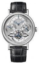 Мужские классические часы Breguet Grand Complications 3797PT_1E_9WU в платиновом корпусе, турбийон и вечный календарь, смещенный циферблат, кожа кроко.