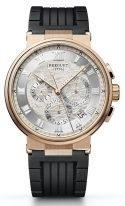 Мужские спортивные часы Breguet Marine 5527BR_12_5WV хронограф в розовом золоте, светлый гильошированный циферблат, черный каучук.