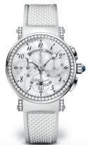 Женские спортивные часы Breguet Marine 8828BB_5D_586_DD00 хронограф в белом золоте с бриллиантовым рантом, перламутровым циферблатом, белым каучуком.