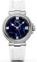 Женские спортивные часы Breguet Marine 9518ST_E2_584_D000 в стальном корпусе с бриллиантовым рантом, синий лакированный циферблат, белый каучук.