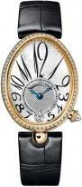 Женские классические часы Breguet Reine de Naples 8918BA_58_964_D00D в желтом золоте с бриллиантовым рантом, перламутровый светлый циферблат с арабскими цифрами, кожа кроко.
