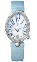 Женские классические часы Breguet Reine de Naples 8918BB_28_964_D00D в белом золоте с бриллиантовым рантом, эмалевый светлый циферблат с арабскими цифрами, кожа кроко.