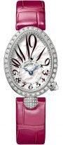 Женские классические часы Breguet Reine de Naples 8928BB_5P_944_DD0D в белом золоте с бриллиантовым рантом, перламутровый циферблат с римскими и арабскими цифрами, красная кожа кроко.
