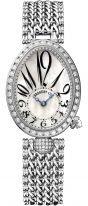 Женские классические часы Breguet Reine de Naples 8928BB_5W_J20_DD0D в белом золоте с бриллиантовым рантом, перламутровый циферблат с римскими и арабскими цифрами, браслет из белого золота.
