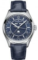 Мужские классические часы Vacheron Constantin Fiftysix 4000E_000A_B548 в стальном корпусе с годовым календарем и фазами Луны, синий циферблат, синяя кожа кроко.