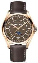 Мужские классические часы Vacheron Constantin Fiftysix 4000E_000R_B065 в розовом золоте с годовым календарем и фазами Луны, коричневый циферблат, коричневая кожа теленка.