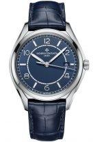Мужские классические часы Vacheron Constantin Fiftysix 4600E_000A_B487 в стальном корпусе с датой, синий циферблат, синяя кожа кроко.