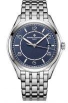Мужские классические часы Vacheron Constantin Fiftysix 4600E_110A_B487 в стальном корпусе с датой, синий циферблат, стальной браслет.