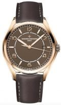 Мужские классические часы Vacheron Constantin Fiftysix 4600E_000R_B576 в розовом золоте с датой, коричневый циферблат, коричневый телячий ремешок.