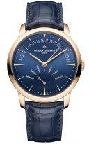 Мужские классические часы Vacheron Constantin Patrimony 4000U_000R_B516 в розовом золоте с ретроградной датой и днем недели, синий циферблат, синяя кожа кроко.