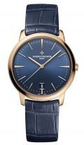 Женские классические часы Vacheron Constantin Patrimony 4100U_000R_B643 в розовом золоте, синий циферблат, синий ремешок кроко.