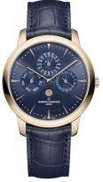 Мужские классические часы Vacheron Constantin Patrimony 43175_000R_B519 в розовом золоте, вечный календарь с фазами Луны, синий циферблат, синяя кожа кроко.
