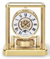 Настольные часы Jaeger Le Coultre Atmos 511 12 02 с золотым покрытием, месяц и фазы Луны, часы и минуты, лаковый белый циферблат с черными римскими цифрами.