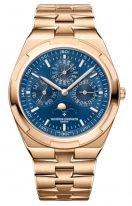 Мужские спортивные часы Vacheron Constantin Overseas 4300V_120R_B509 в розовом золоте с вечным календарем, синий циферблат, золотой браслет.